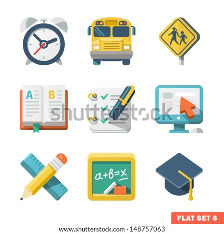 School and Education Flat Icons for Web and Mobile App - stock vector