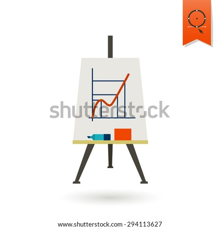 School and Education Icon - Flipchart. Vector. Flat design style - stock vector