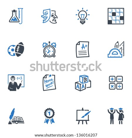 School and Education Icons - Set 4 | Blue Series - stock vector