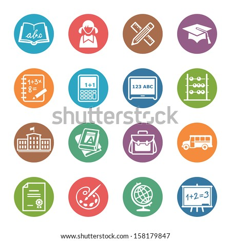 School and Education Icons Set 1 - Dot Series - stock vector