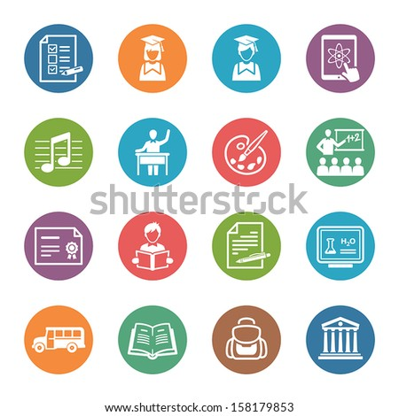 School and Education Icons Set 2 - Dot Series - stock vector