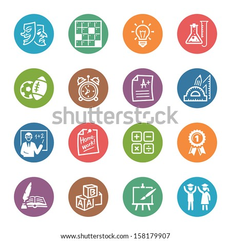 School and Education Icons Set 4 - Dot Series  - stock vector