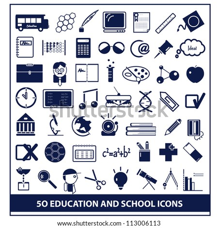 School and Education Icons, vector - stock vector