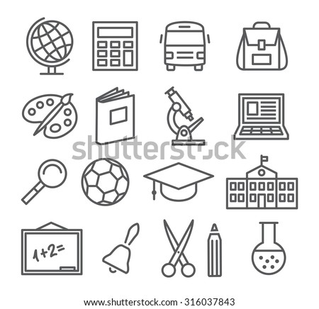 School and Education Line Icons - stock vector