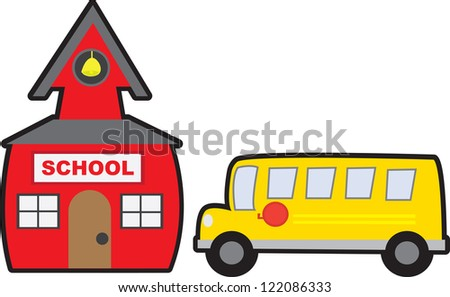 School and School bus isolated - stock vector