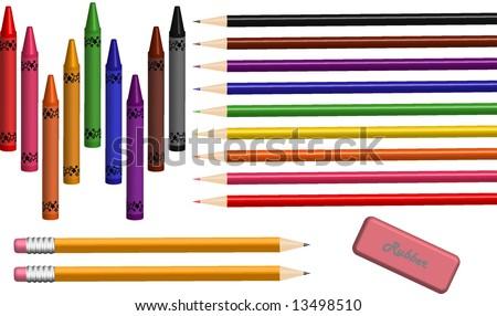 School/Art Supplies Vector - stock vector