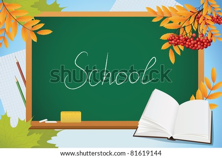 school autumn background with blackboard, book and yellow leves, vector - stock vector