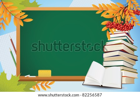 school autumn background with blackboard, books and yellow leaves, vector - stock vector