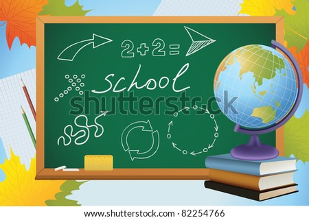 school autumn background with symbols on blackboard, globe and books, vector - stock vector