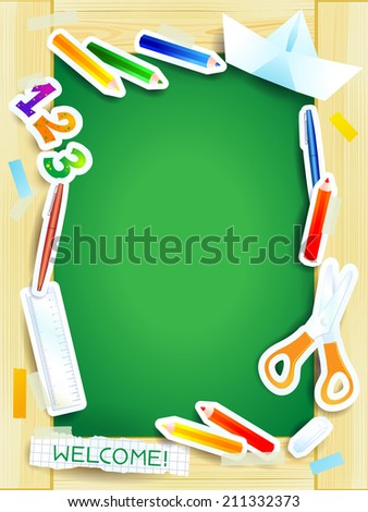 School background on green board, vector eps 10 - stock vector