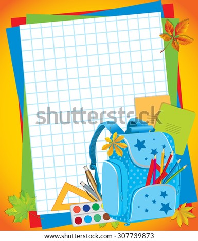 School background with a backpack and school supplies - stock vector