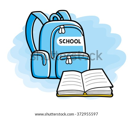 School bag and an open book illustration. - stock vector