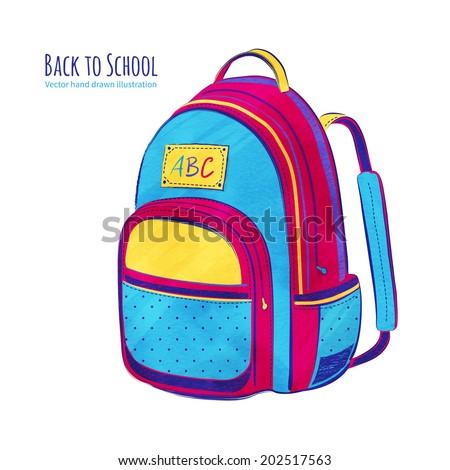 School bag. Hand drawn vector illustration. - stock vector
