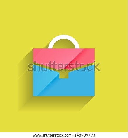 School bag vector modern flat design - stock vector