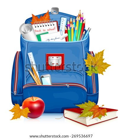School bag with education objects.Back to school! Vector illustration - stock vector