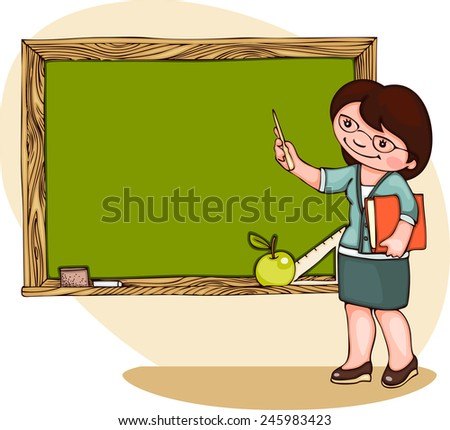 school  banner with teacher at the blackboard. Place for text   - stock vector