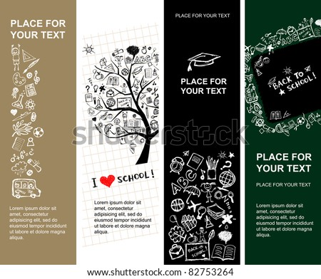 School banners design with place for your text - stock vector