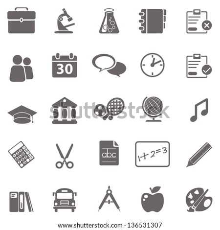 School basic icons - stock vector