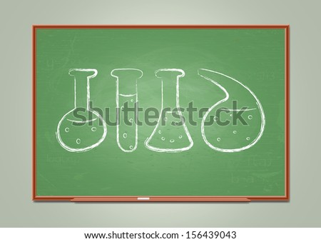 School blackboard with chemical test-tube symbols. Vector illustration - stock vector