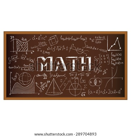 School board doodle with formulas and graphs on math. Vector illustration. Set of education and learning doodles with school objects. - stock vector