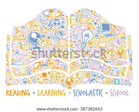 School book made of many school related symbols - stock vector