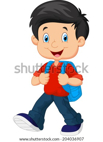 School boy cartoon walking - stock vector