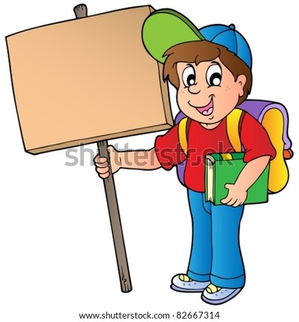 School boy holding wooden board - vector illustration. - stock vector