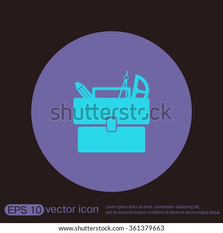 School briefcase bag with stationery. Symbol office or school. - stock vector
