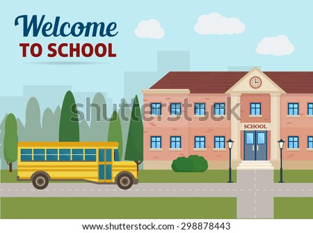 School building and school yellow bus with city landscape. Back to school. Flat style vector illustration. - stock vector
