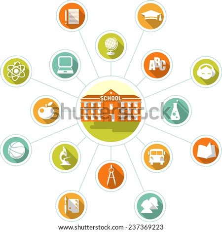 School building and set of flat icons - stock vector