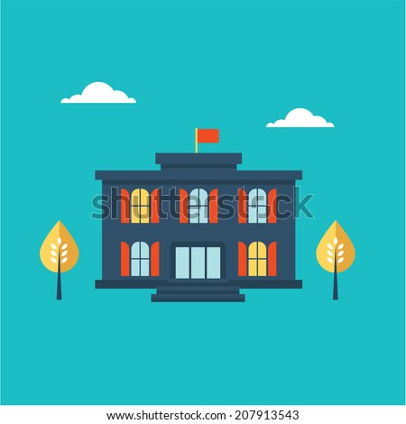 School building icon - stock vector