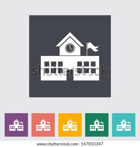 School building. Single flat icon. Vector illustration. - stock vector