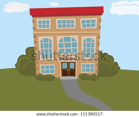 School building with front view. Vector illustration.  - stock vector
