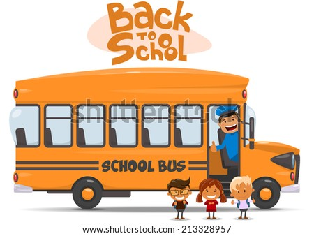 School bus and Happy Children. Vector illustration of School theme.  - stock vector