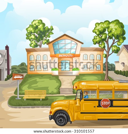 School bus and school building - stock vector