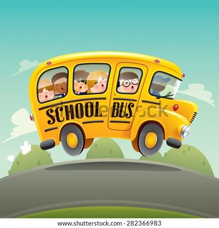 School bus driving with kids. - stock vector
