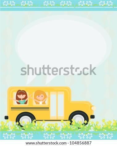 school bus heading to school with happy children - stock vector
