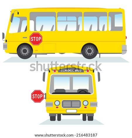 School bus isolated. School bus vector in side and front view. - stock vector