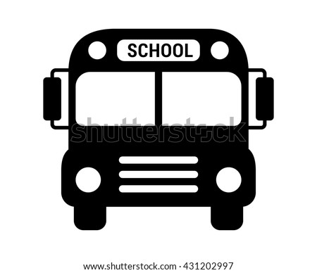School bus or schoolbus transportation vehicle with label flat icon for apps and websites - stock vector