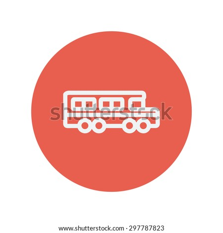 School bus thin line icon for web and mobile minimalistic flat design. Vector white icon inside the red circle. - stock vector