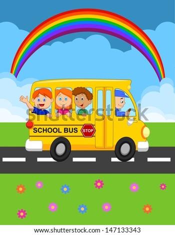 School Bus With Happy Children - stock vector