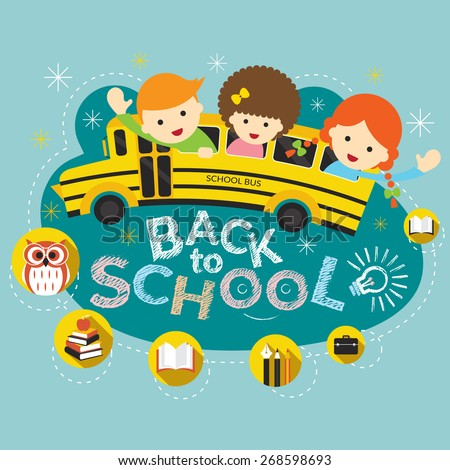 School Bus with Student and Education Heading, School, Learning and Study - stock vector