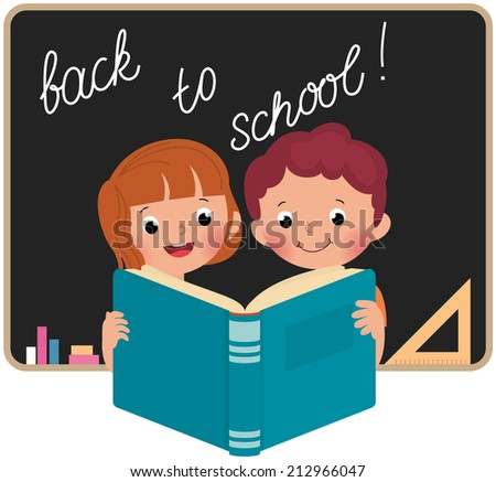 School children boy and girl reading book in classroom/Children at school reading a book/Pupils read a book on a background of blackboard - stock vector