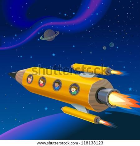 School Children Enjoying Pencil Rocket Ride - stock vector
