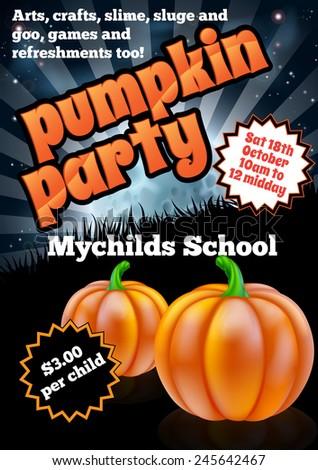 School children Halloween Pumpkin Party Flier invite invitation illustration - stock vector
