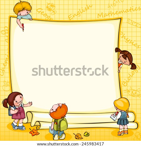 school children's  banner. Place for text  - stock vector