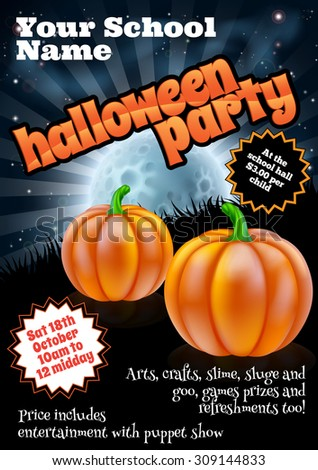 School childrens Halloween Party poster invite invitation or flyer with pumpkins and full moon