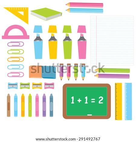 School Classroom Supplies - stock vector