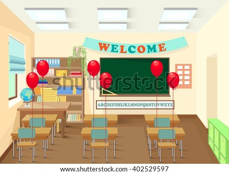School classroom with chalkboard and desks. Class for education, board, table and study, blackboard and lesson. The interior of the school. Vector illustration. - stock vector