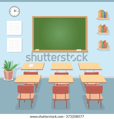 School classroom with chalkboard and desks. Class for education, courses or training - stock vector